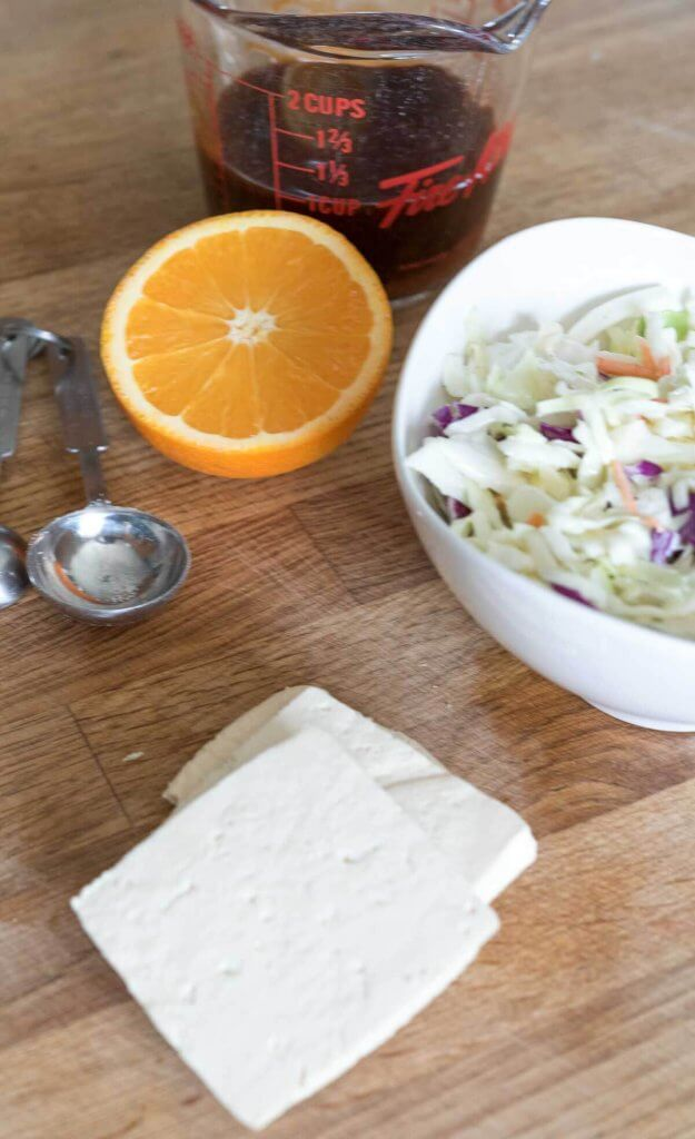 tofu and orange sesame coleslaw