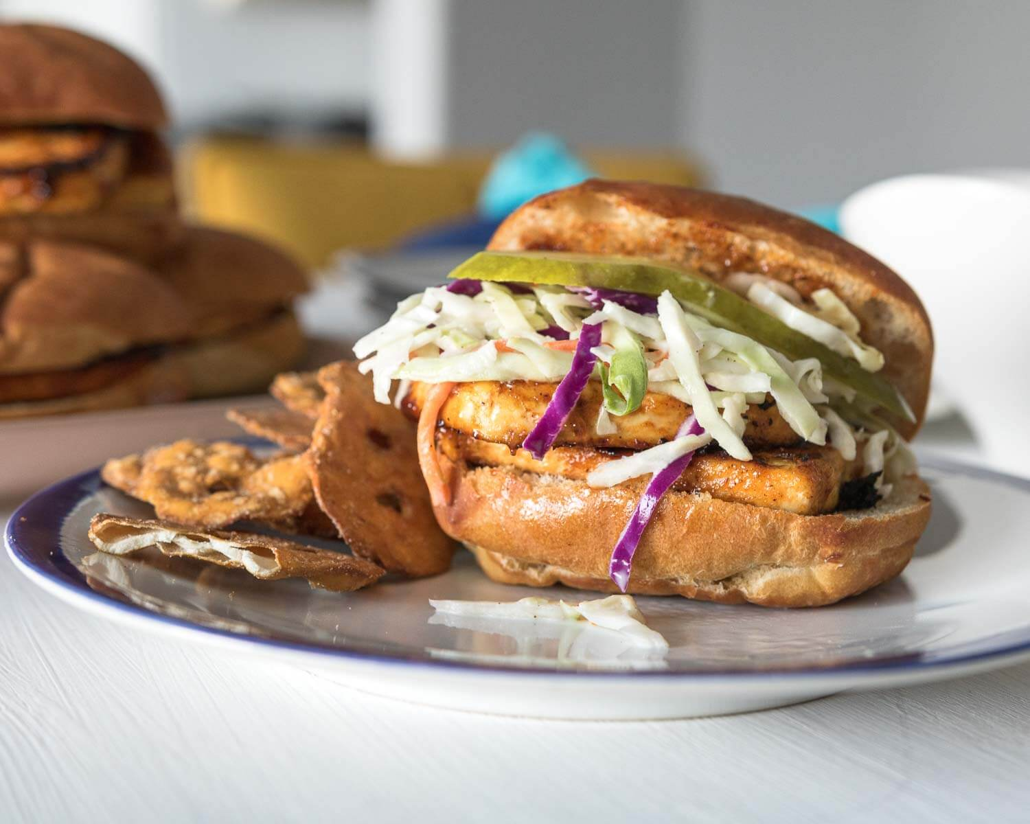 BBQ tofu sliders with creamy orange coleslaw