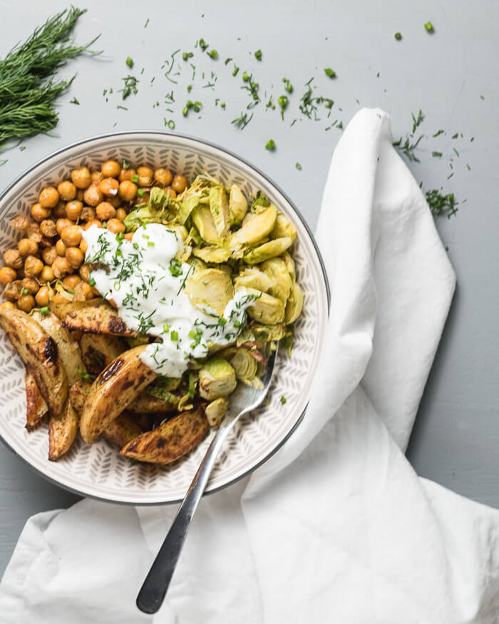 sheet pan oven roasted chickpeas, potatos and brussel sprouts