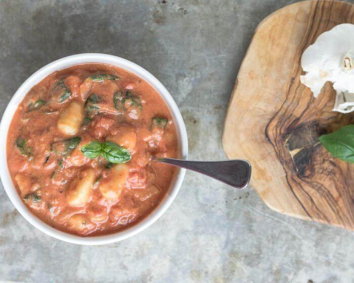 creamy tomato gnocchi soup with spinach