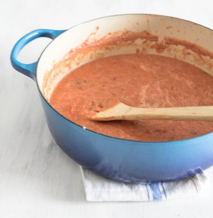 tomato soup base after blending