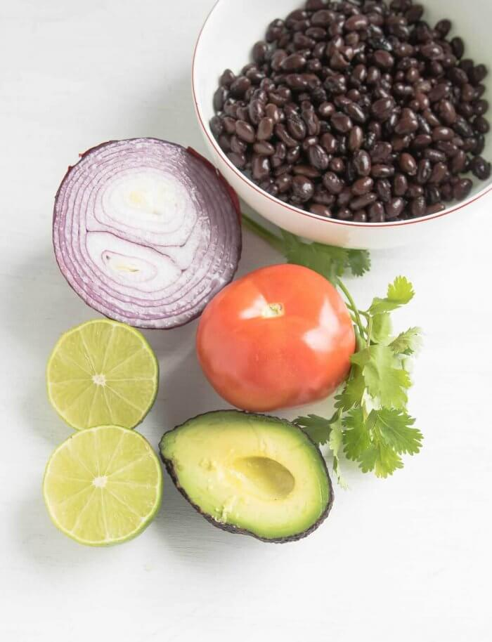 black beans, avocado, red onion, cilantro, lime and tomatoes