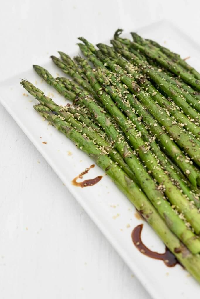 roasted asparagus with balsamic and bread crumbs