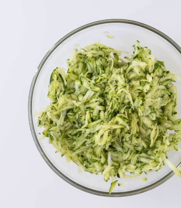 freshly grated zucchini for baking