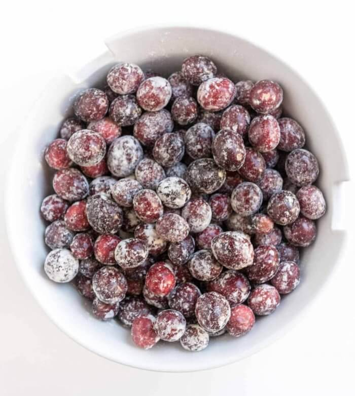 fresh cranberries dusted with flour
