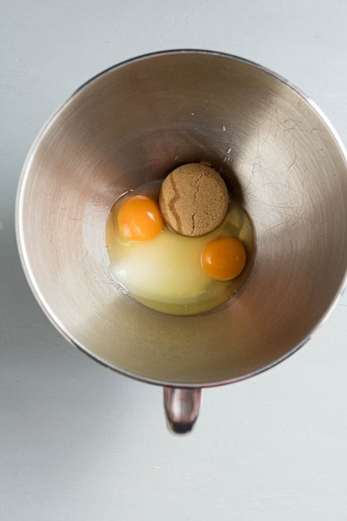 eggs and brown sugar, white sugar in mixing bowl