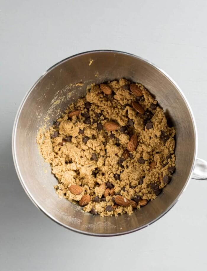 final biscotti dough is crumbly and dry
