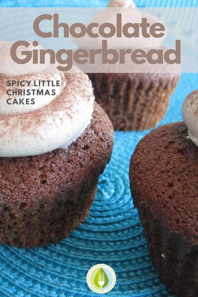 chocolate gingerbread cupcakes on a blue background with text on image