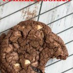 dark chocolate crinkle cookies with text