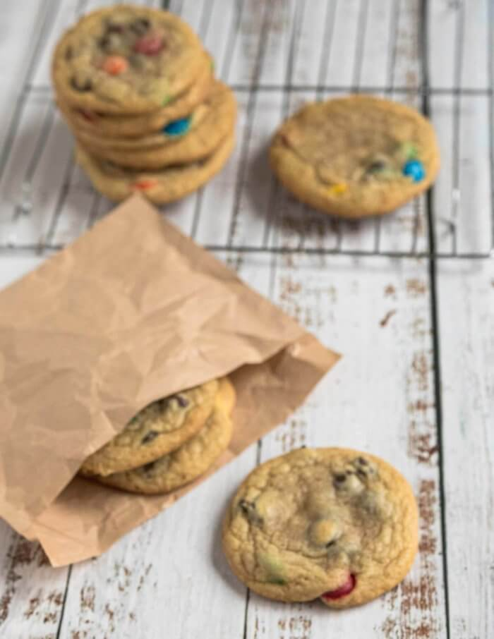 chocolate chip cookies with chocolate candies
