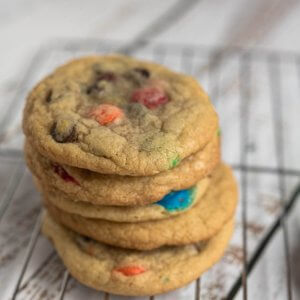 a stack of M&M chocolate chip cookies