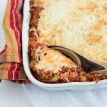 vegetarian cabbage roll casserole with creamy cheese topping