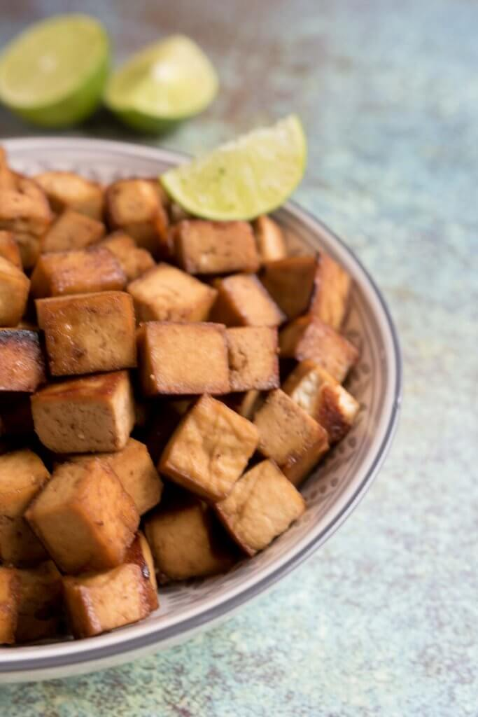 oven baked tofu with soy and lime