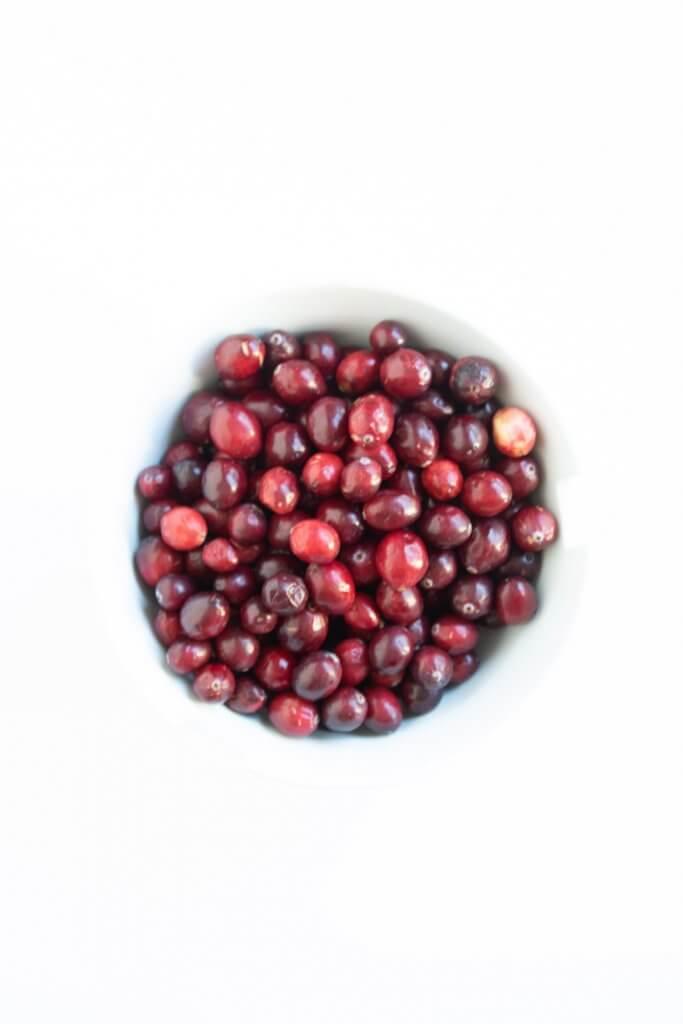 a bowl of cranberries